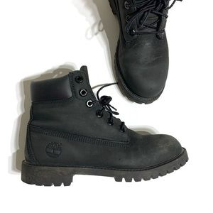 Timberland boy's classic black lace up boots